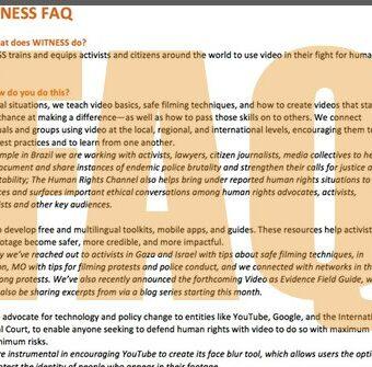WITNESS FAQ