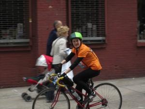 Bernice Kelly bikes for WITNESS in the 2014 TD Five Boro Bike Tour.