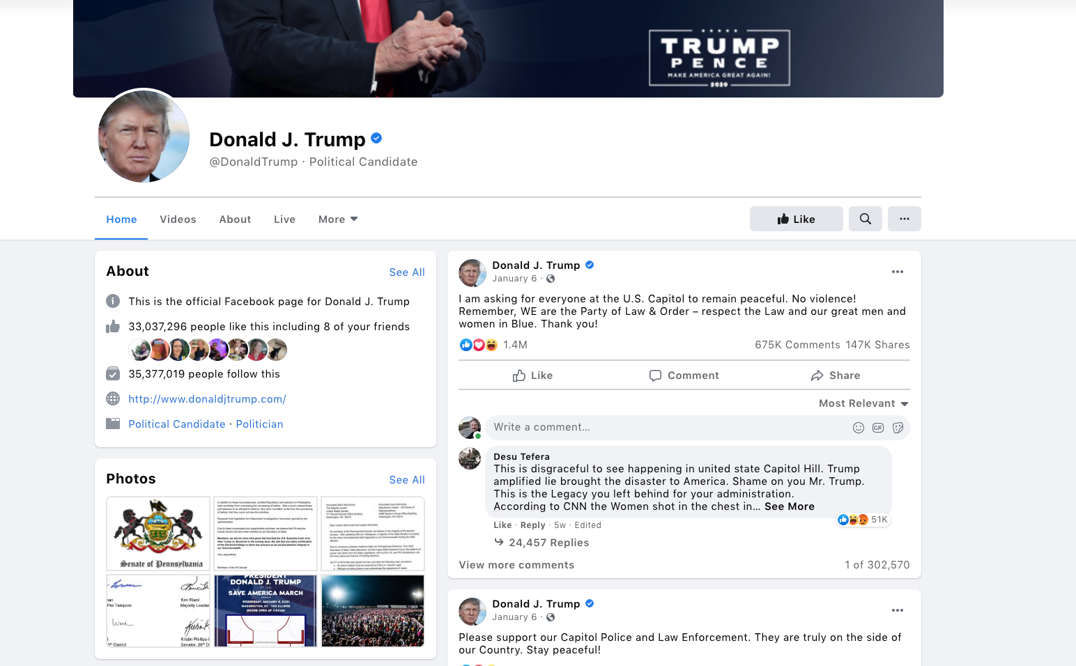 Former President Donald Trump's Suspended Facebook Account